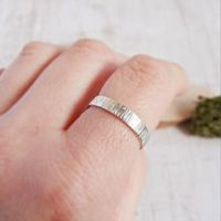 Shiny Sterling Silver Bark Textured Stacking Band Ring