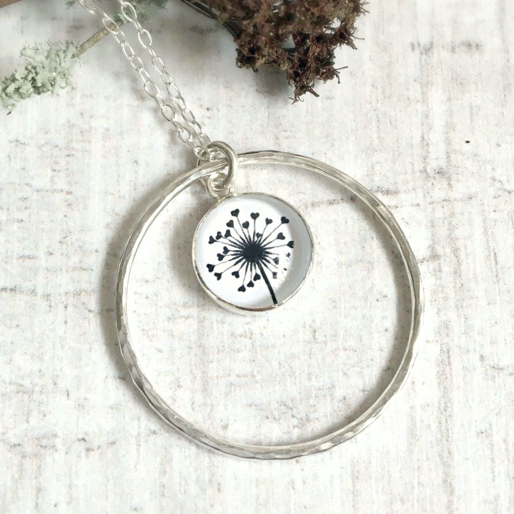 Sterling Silver Love Heart Dandelion Illustration Charm with Hammered Circl
