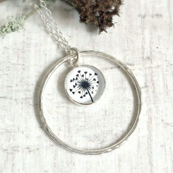 Sterling Silver Love Heart Dandelion Illustration Charm Necklace with Hammered Circle Frame