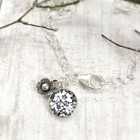 Sterling Silver Floral Illustration Glass Charm & Flower Bracelet