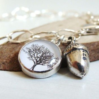 Mighty Oaks from Little Acorns Grow Sterling Silver Acorn & Tree Charm Bracelet