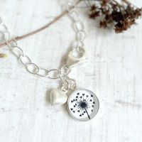 Sterling Silver Love Heart Dandelion Illustration Charm Bracelet
