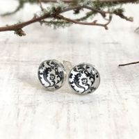 Sterling Silver Black & White Floral Illustration Stud Earrings