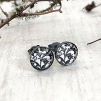 Oxidised Black Sterling Silver Black & White Floral Stud Earrings