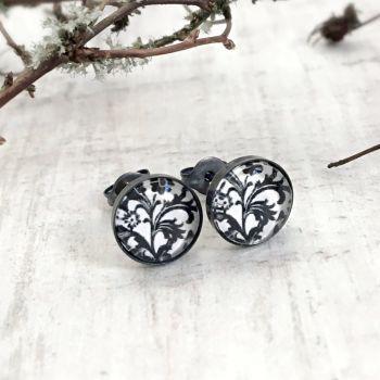 Oxidised Black Sterling Silver Black & White Floral Stud Earrings