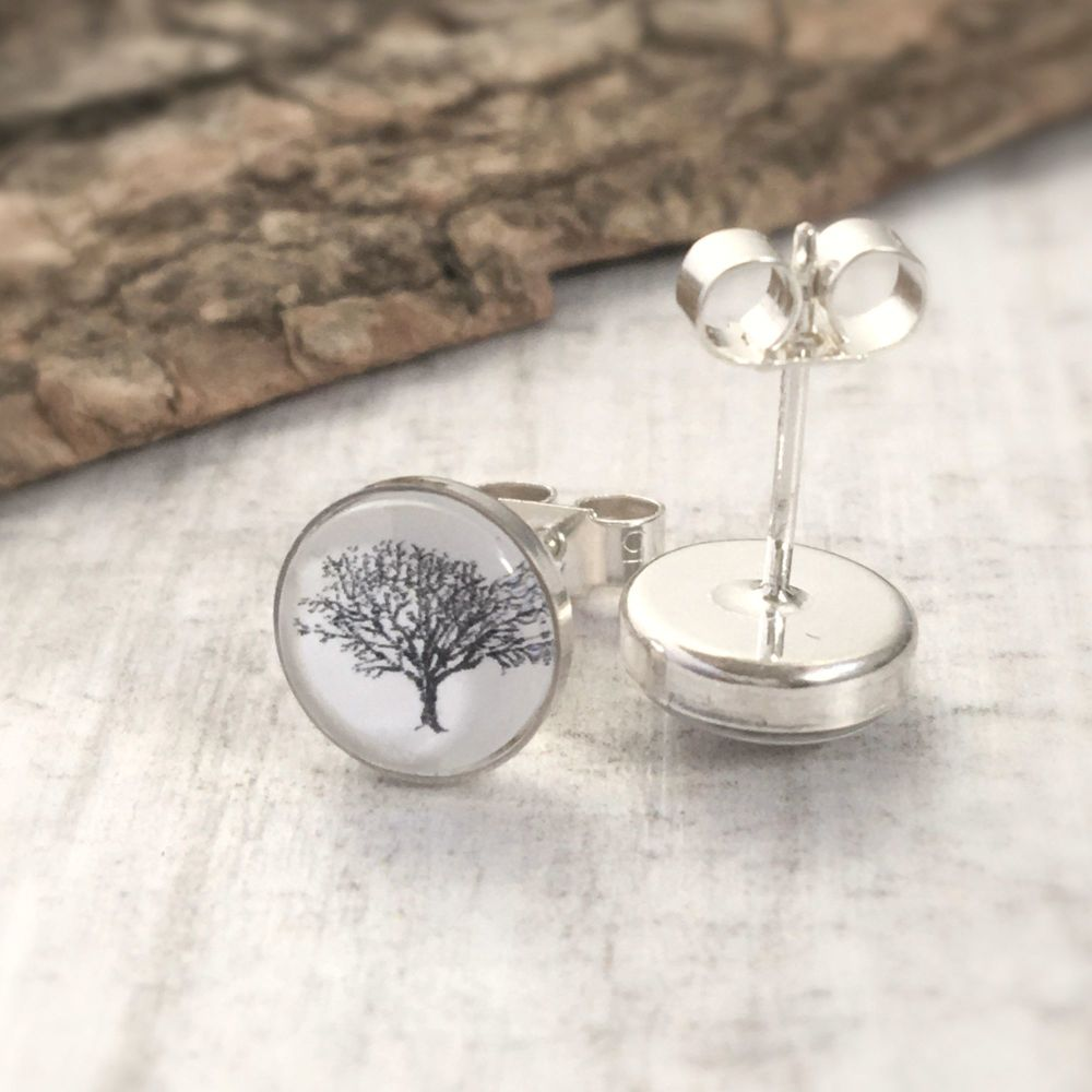 Sterling Silver Woodland Oak Tree Art Stud Earrings