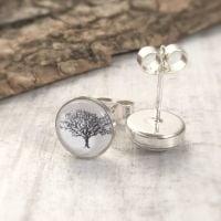 Sterling Silver Woodland Oak Tree Art Stud Earrings