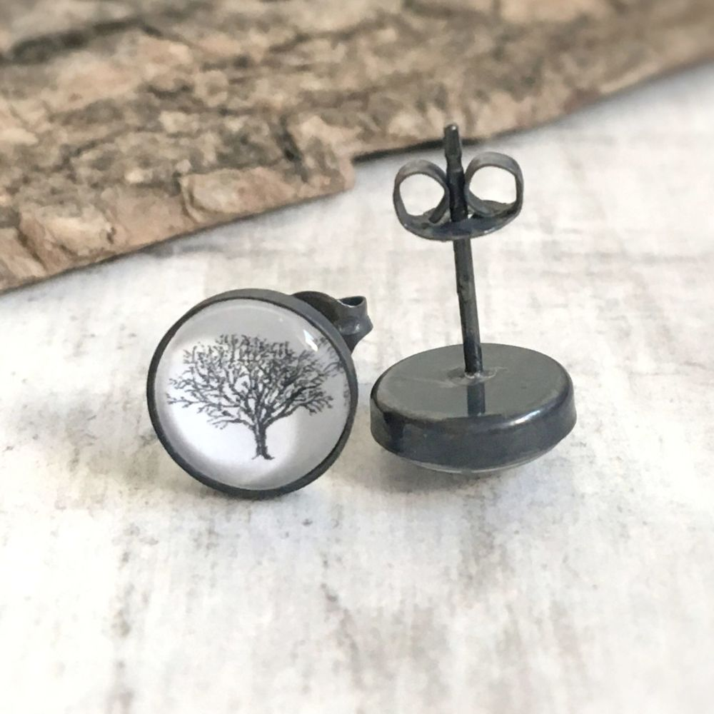 Oxidised Sterling Silver Woodland Oak Tree Art Stud Earrings