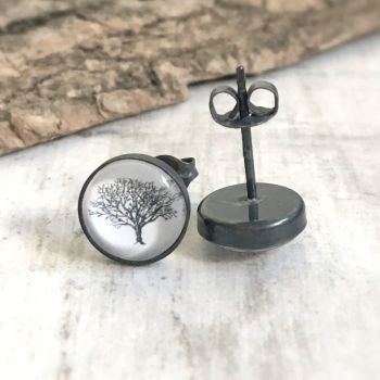 Oxidised Sterling Silver Woodland Oak Tree Art Stud Earrings