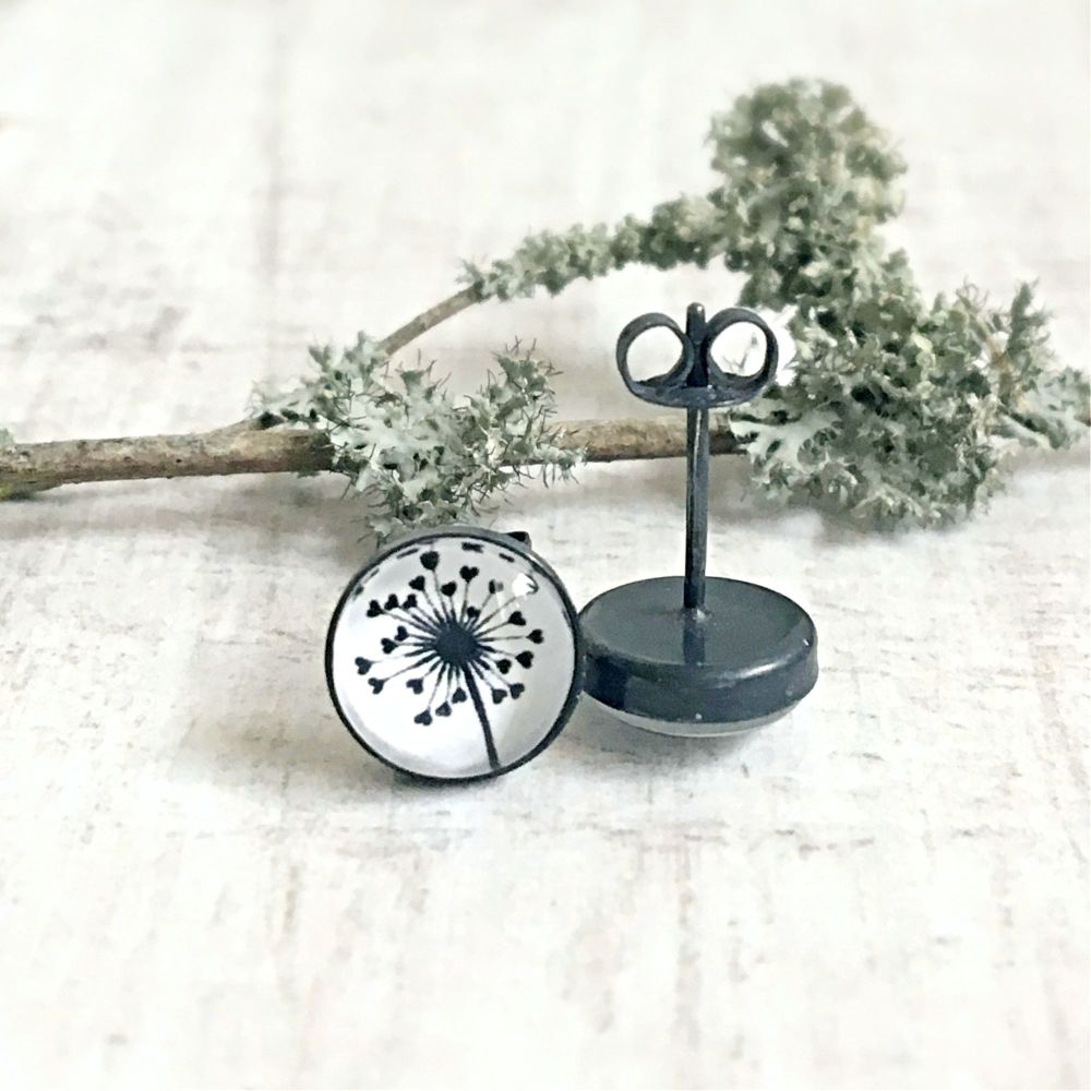 Oxidised Sterling Silver Woodland Love Heart Dandelion Stud Earrings