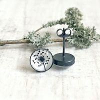Oxidised Sterling Silver Woodland Love Heart Dandelion Stud Earrings