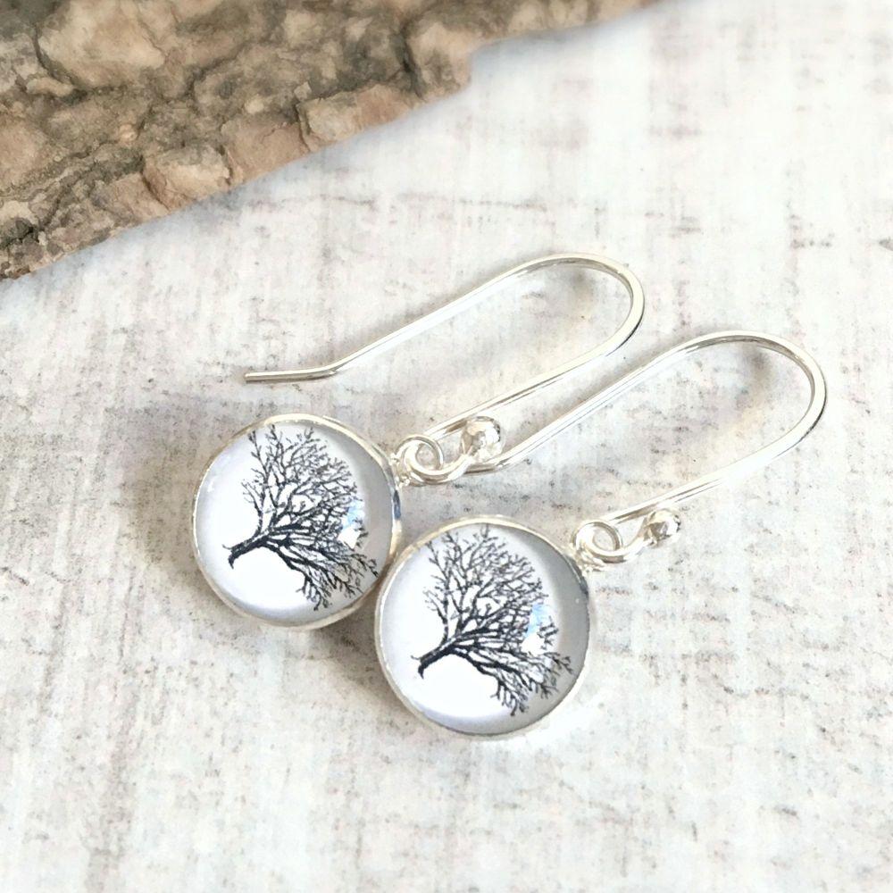 Sterling Silver Woodland Oak Tree Illustration Charm Earrings