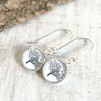 Sterling Silver Woodland Oak Tree Illustration Charm Earrings