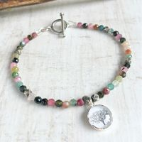 Faceted Tourmaline Beaded Bracelet with Sterling Silver Tree Charm