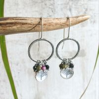 Oxidised Sterling Silver Bark Texture Hoop Earrings with Tree Charm and Faceted Tourmalines