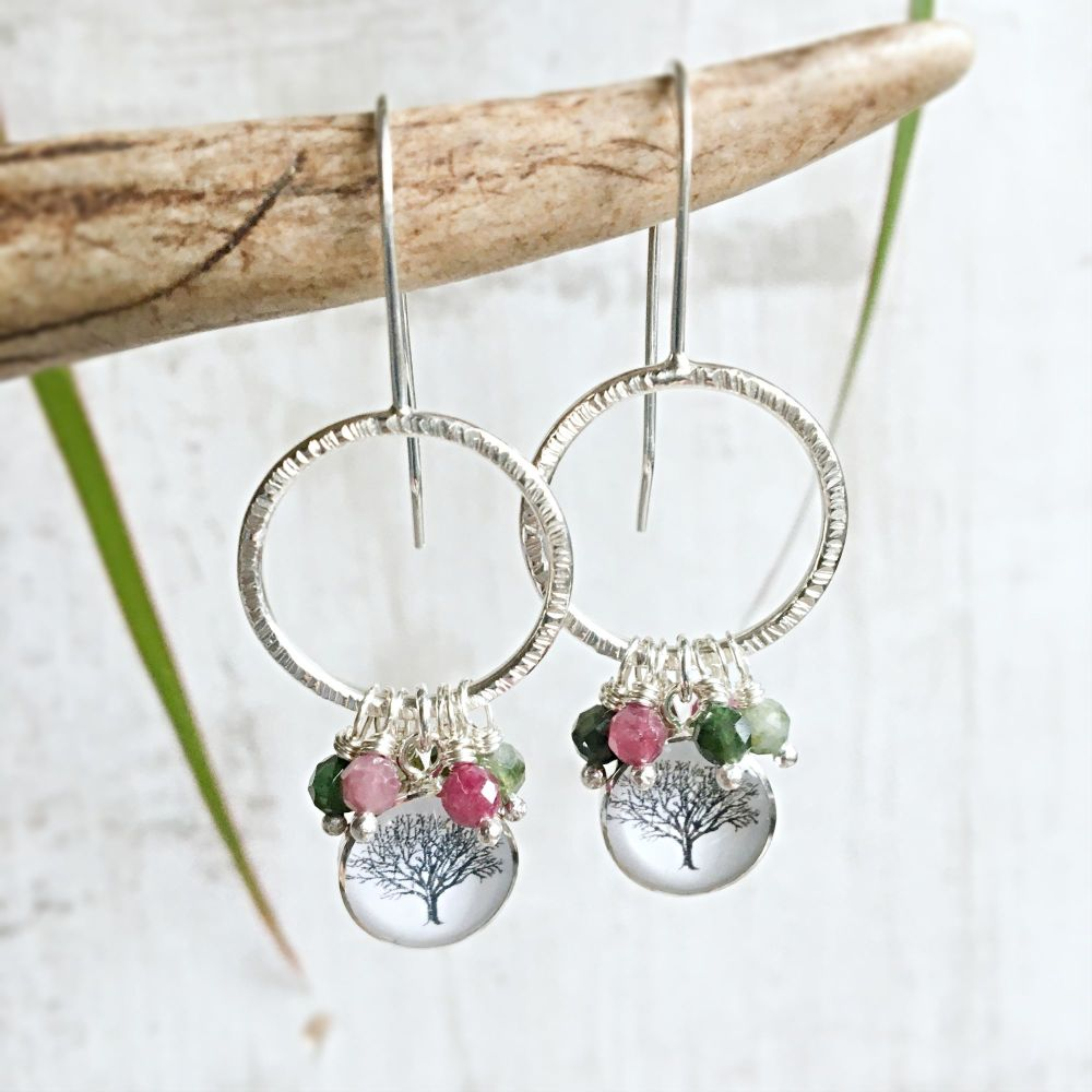 Sterling Silver Bark Texture Hoop Earrings with Tree Charm and Faceted Tour