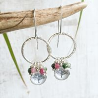 Sterling Silver Bark Texture Hoop Earrings with Tree Charm and Faceted Tourmalines