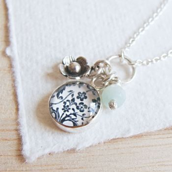 Sterling Silver Floral Charm Cluster Necklace with Tiny Flower Charm and Amazonite