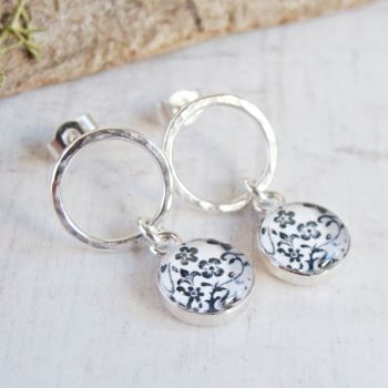 Sterling Silver Circle Studs with Floral Illustration Charm Dangles