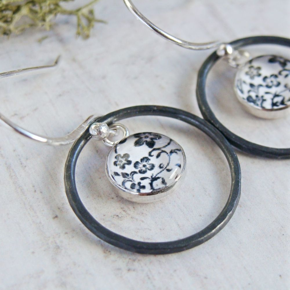 Oxidised Sterling Silver Floral Illustration Charm Circle Framed Dangly Ear