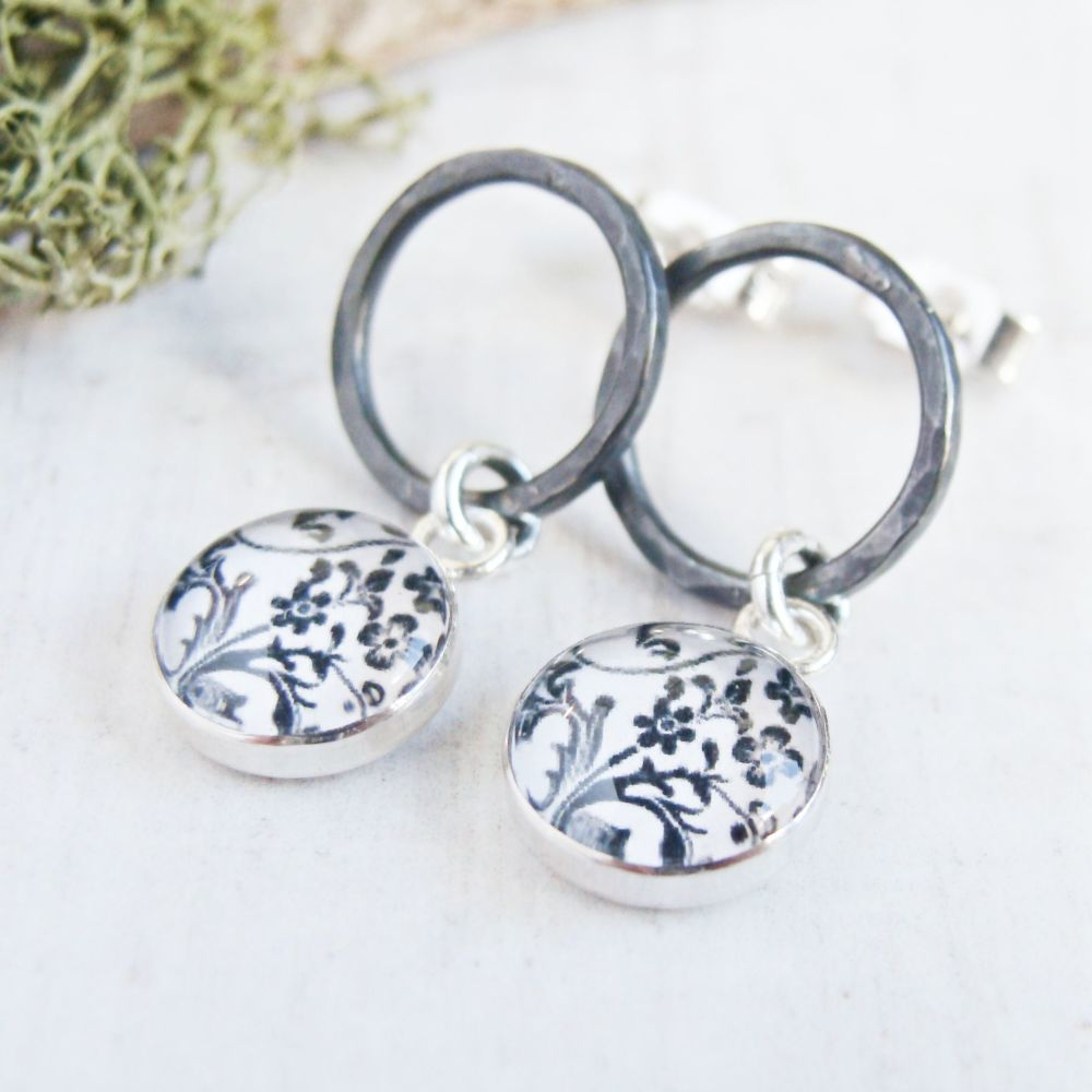 Oxidised Sterling Silver Circle Studs with Floral Illustration Charm Dangle