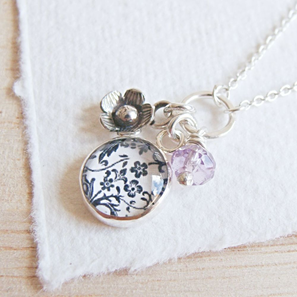 Sterling Silver Floral Charm Cluster Necklace with Tiny Flower Charm and Am