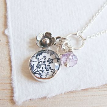 Sterling Silver Floral Charm Cluster Necklace with Tiny Flower Charm and Amethyst