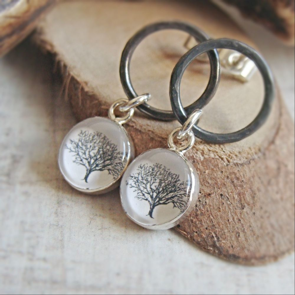 Oxidised Sterling Silver Circle Studs with Tree Charm Dangles