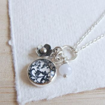 Sterling Silver Floral Charm Cluster Necklace with Tiny Flower Charm and Blue Lace Agate