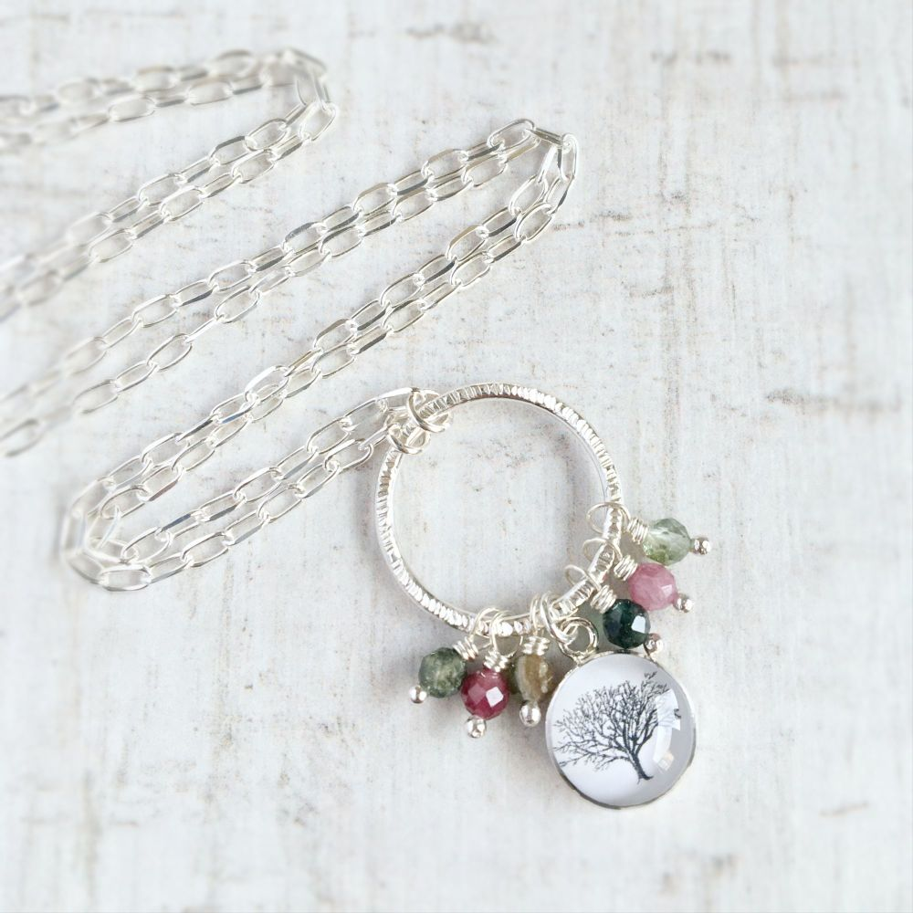 Sterling Silver Hoop Necklace with Faceted Tourmalines and Woodland Tree Ch