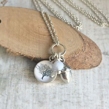 For Pete - Sterling Silver Tree Illustration & Acorn Charm Necklace with Pale Blue Lace Agate