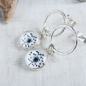 Sterling Silver Circle Studs with Dandelion Illustration Charm Dangles