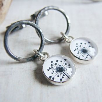 Oxidised Sterling Silver Circle Studs with Dandelion Charm Dangles