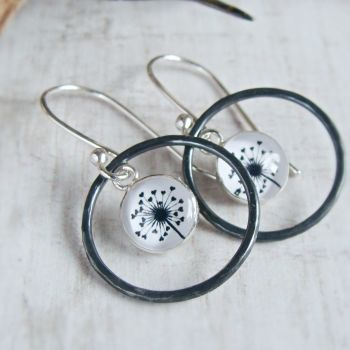 Oxidised Sterling Silver Dandelion Illustration Charm Circle Framed Dangly Earrings