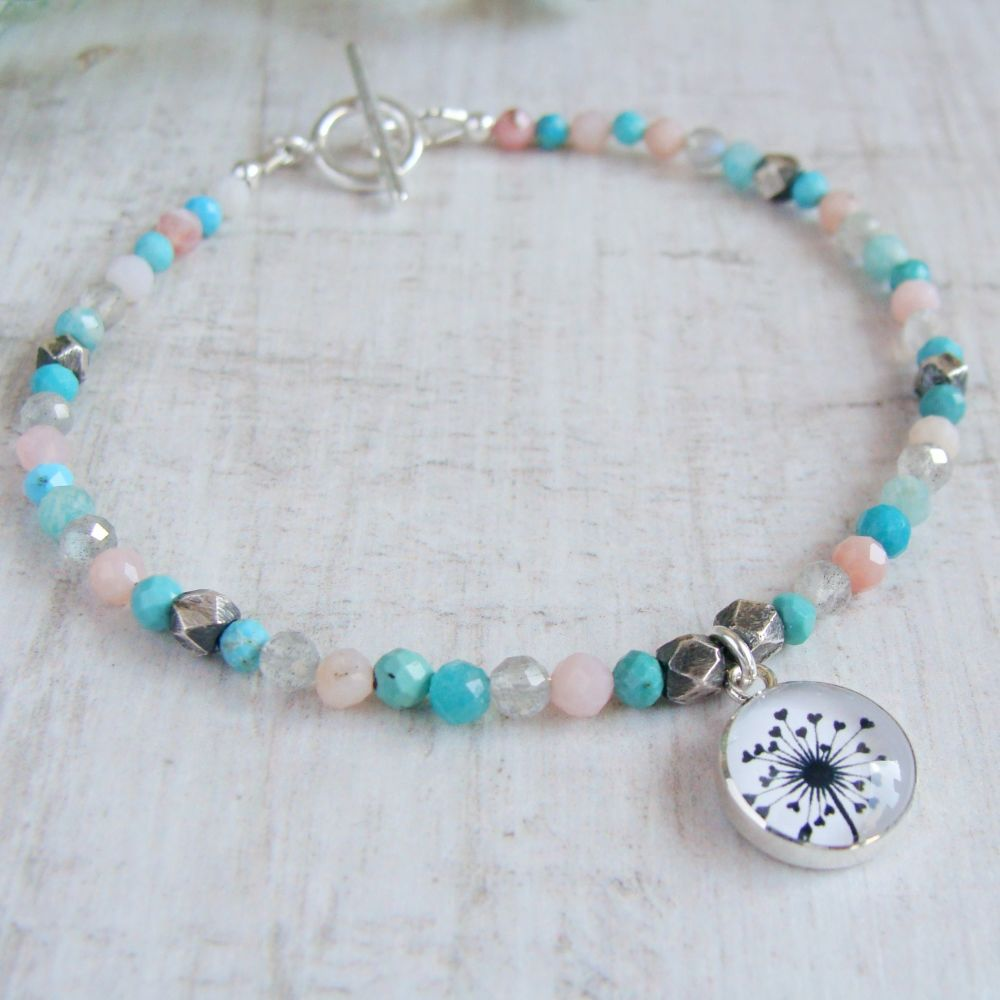 Faceted Multi Gemstone Beaded Bracelet with Sterling Silver Dandelion Illus