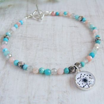 Faceted Multi Gemstone Beaded Bracelet with Sterling Silver Dandelion Illustration Charm