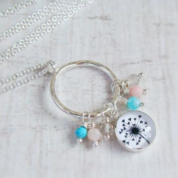 Hammered Sterling Silver Hoop Necklace with Faceted Gemstones and Dandelion Illustration Charm