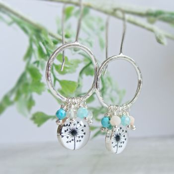 Hammered Sterling Silver Hoop Earrings with Dandelion Illustration Charms and Faceted Gemstones