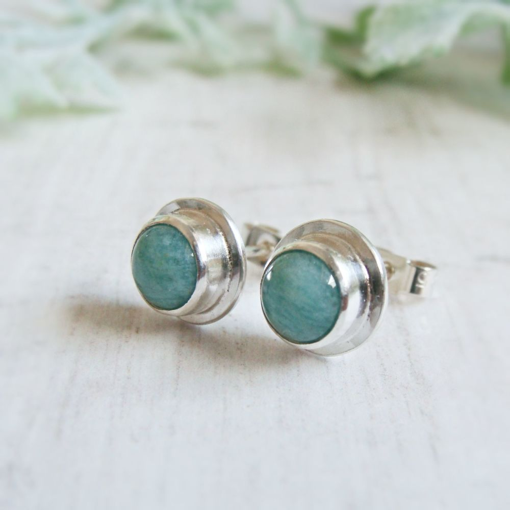 Norwegian Amazonite Sterling Silver Stud Earrings No.1