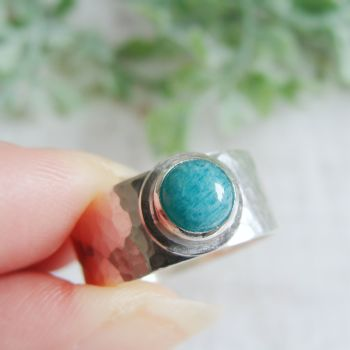 Sterling Silver Norwegian Amazonite Wide Band Ring