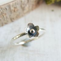 Sterling Silver Tiny Flower Hammered Stacking Ring