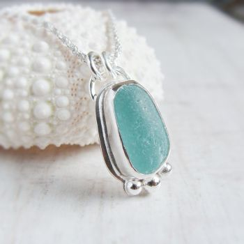Unique Seaham Sea Glass Pebble Pendant Necklace in Sterling Silver No.1