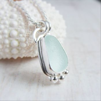 Unique Seaham Sea Glass Pebble Pendant Necklace in Sterling Silver No.2