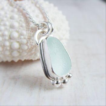 Unique Seaham Sea Glass Pebble Pendant Necklace in Sterling Silver No.2