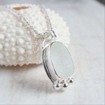 Unique Seaham Sea Glass Pebble Pendant Necklace in Sterling Silver No.3