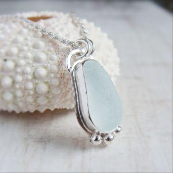Unique Seaham Sea Glass Pebble Pendant Necklace in Sterling Silver No.4