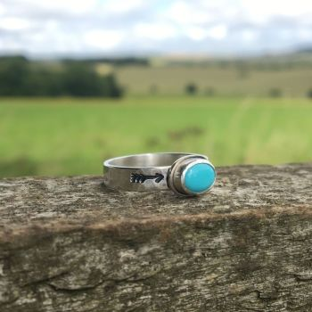 For Alana - Sterling Silver Arrow Stamped Ring With Turquoise