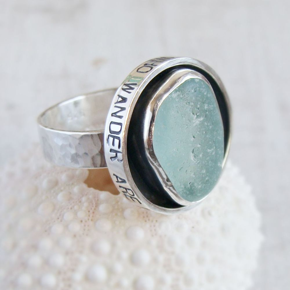 Sterling Silver Sea Glass Shadowbox 'Not All Who Wander Are Lost' Ring