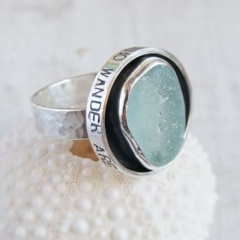 Reserved for Rachel - Sterling Silver Sea Glass Shadowbox 'Not All Who Wander Are Lost' Ring