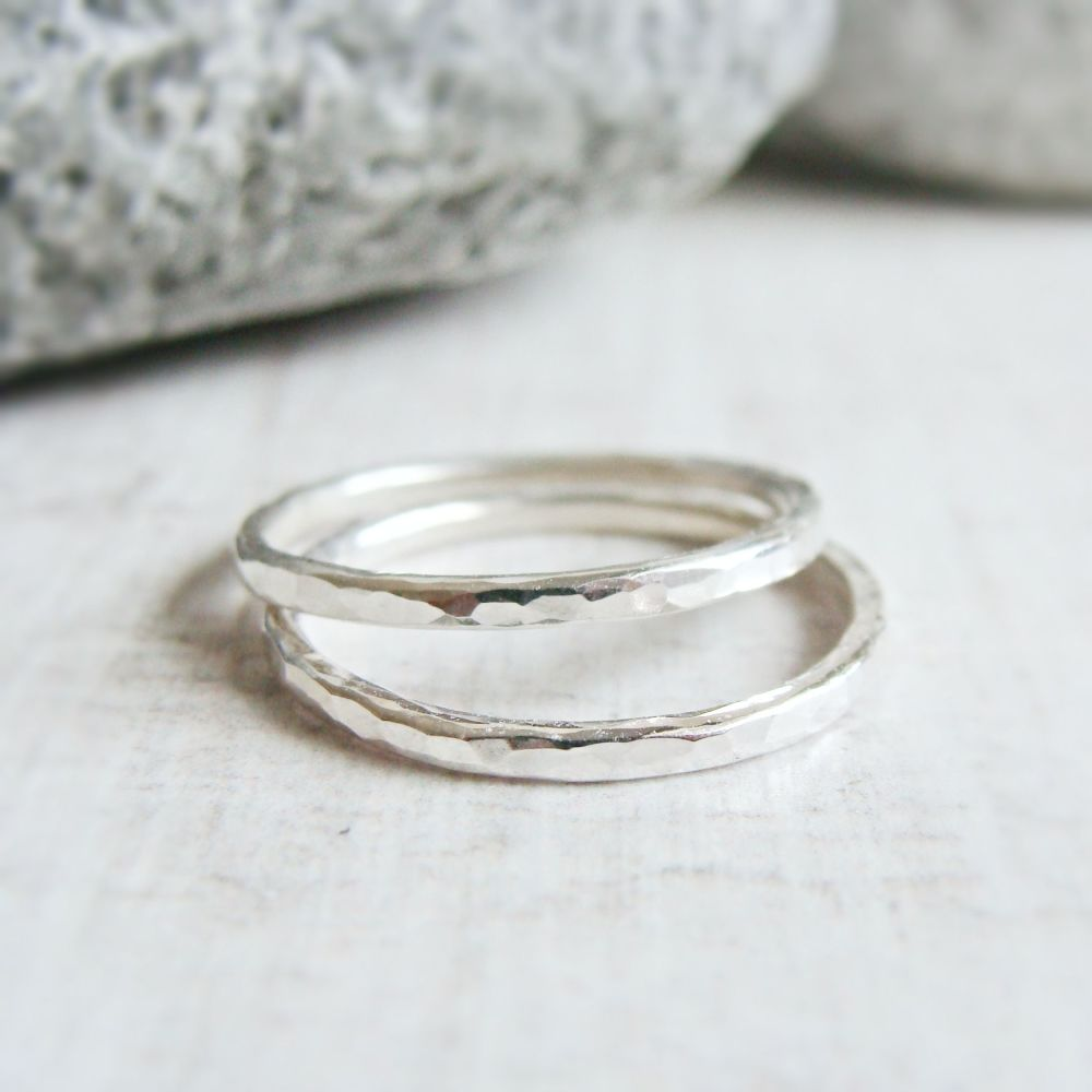 Set of 2 Sterling Silver Hammered Skinny Stacking Ring Bands